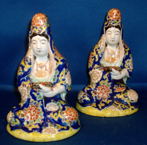 Pair Antique Chinese Porcelain Figures of Kwan Yin Famille Rose Export