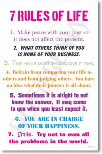 7 Rules of Life - NEW Classroom Motivational School POSTER