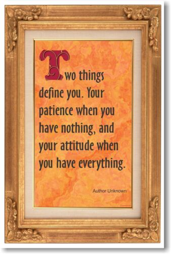 Two Things Define You - Patience & Attitude  - NEW Classroom Motivational POSTER