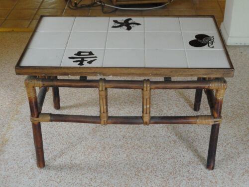 RARE 60's FICKS REED RATTAN LARGE TILED COFFEE TABLE / SIDE TABLE #3
