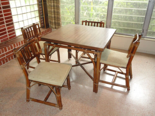 RARE 60's FICKS REED RATTAN DINING TABLE & CHAIRS (SLIDING EXTENDABLE TABLE)