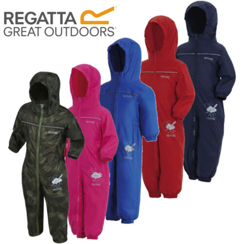 REGATTA PUDDLE RAIN SUIT WATERPROOF ALL IN ONE CHILDRENS KIDS CHILDS BOYS GIRLS <br/> CHOICE OF COLOURS, 1-6 YEARS, FAST AND FREE DELIVERY!!