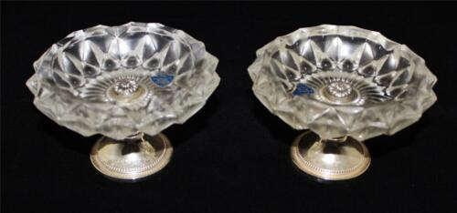 Pair of F B Rogers Silverplate & Crystal Footed Pedestal Candy Dishes or Bowls