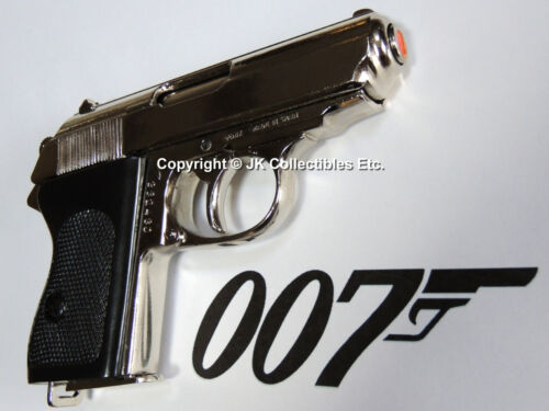 Denix Replica Nickel Walther PPK Pistol WWII Reenactor James Bond 007 Prop GunGermany - 156432