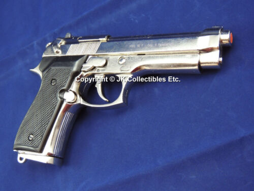 Replica Nickel Finish Beretta M92 Military Automatic Pistol Reenactor Prop GunReproductions - 156470