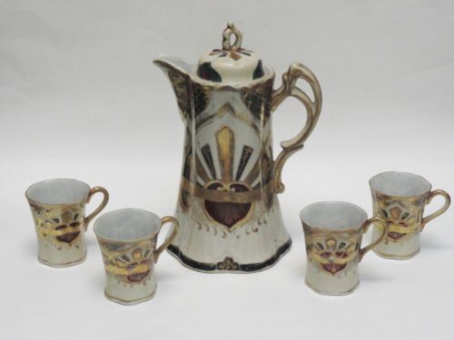 RARE  19 c  NIPPON HAND PAINTED CHOCOLATE PITCHER & 4 CUP SET