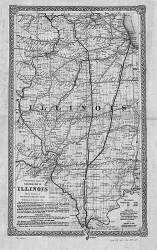 1861 IL MAP Oak Park Olney Orland Hills Park Oswego Ottawa Palatine Paris LARGE