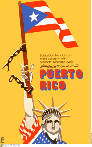 Political poster.FREE Puerto Rico.Independency.Statue of Liberty.Cold War Art.28
