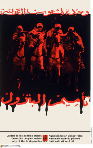 Political OSPAAAL poster.Tribal Arabs on horse.Muslim Middle East History.m23