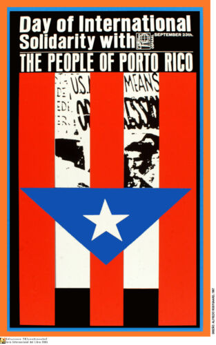 Political OSPAAAL POSTER.PUERTO RICO Flag Independence.World Revolution Art.47