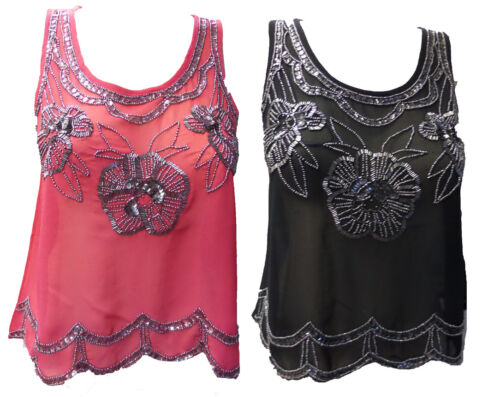 Womens Ladies New Sequin Rose Embellished Camisole Top (Sizes 8 - 16) 2 colours