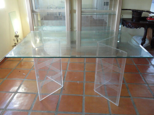 BEST CHIC 70's DOUBLE LUCITE FLYING V BASE DINING TABLE w/ BEVELED GLASS TOP
