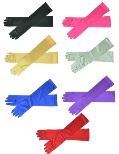 """22"""" Long Satin Stretch Gloves Above Elbow Bridal Prom Wedding Formal 9 Colors"""