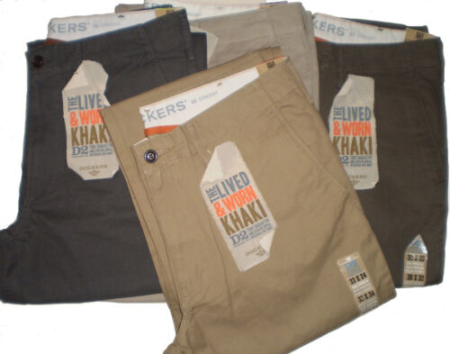 DOCKERS  MENS TROUSERS D2 LIVED & WORN KHAKI CHINOS STRAIGHT FIT PANTS