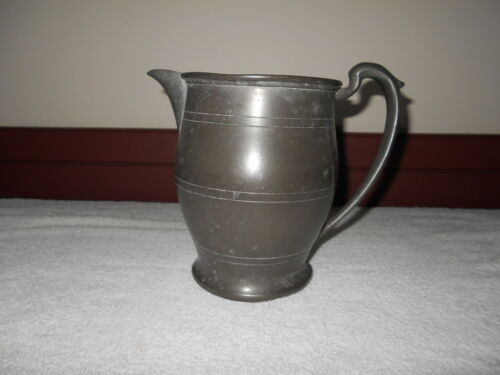 EARLY ANTIQUE PRIMITIVE PEWTER WATER PITCHER - MARKED PEWTER 3441
