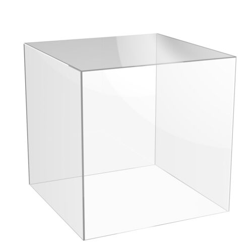 Acrylic Cube Shop Display Stand Square 5 Sided Box Clear Perspex Case Holder
