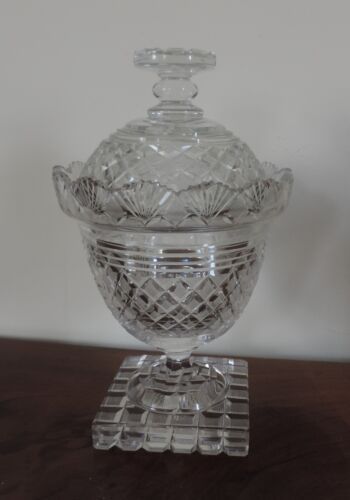 Antique 19th century Cut Crystal Glass Compote Urn & Cover Anglo Irish Regency