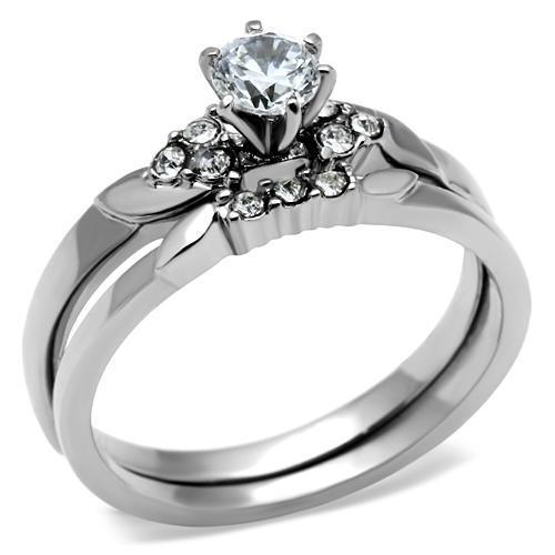 Women's Round CZ Stainless Steel Wedding Promise 2PC Women's 2  Ring Band Set