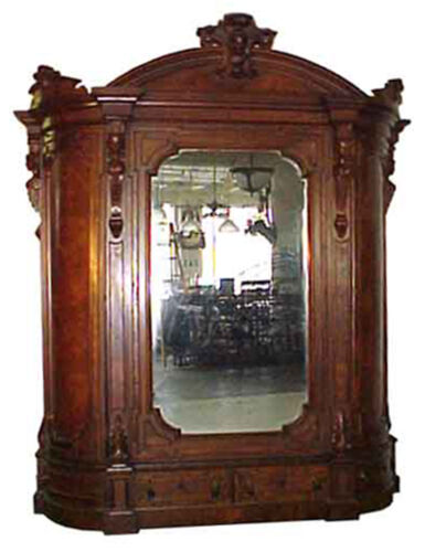 Large American Victorian Armoire, beveled mirror by Thomas Brooks c1875  #5074