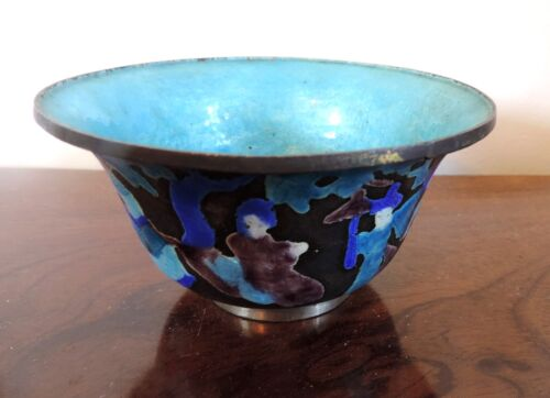 Antique Chinese Cloisonne Bowl Figures Turquoise Interior Early 20th c. Qing