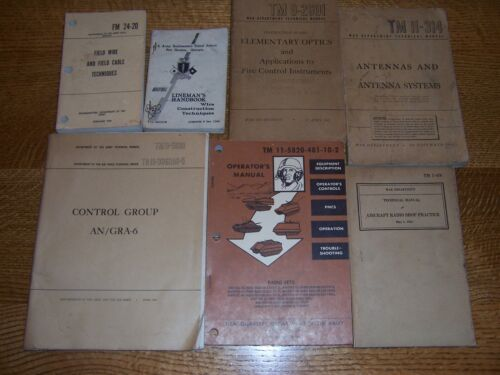 7 books US Army technical Antennas Field Cable Optics Tank Radios L@@KOther Militaria - 135