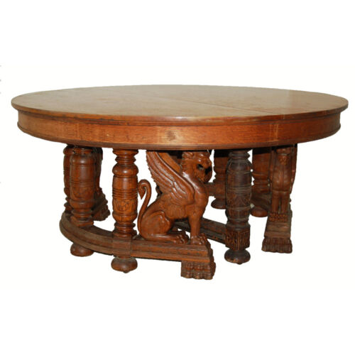 19th C. American Oak Heavily Carved Winged Griffin Oak Dining Table #7247