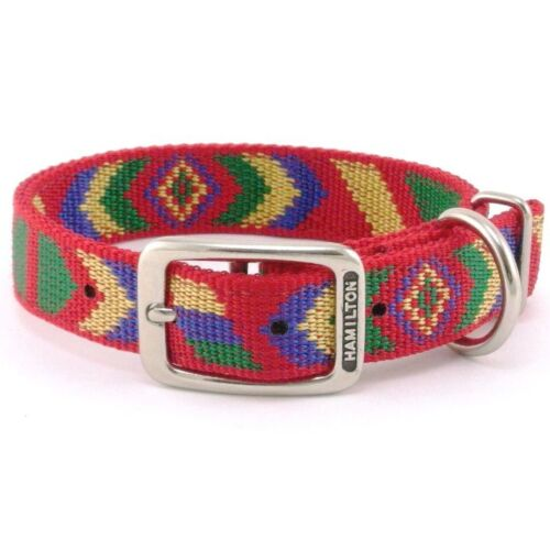"Hamilton DT Nylon Dog Collar, 18"" x 1"", Red with Navajo Pattern"