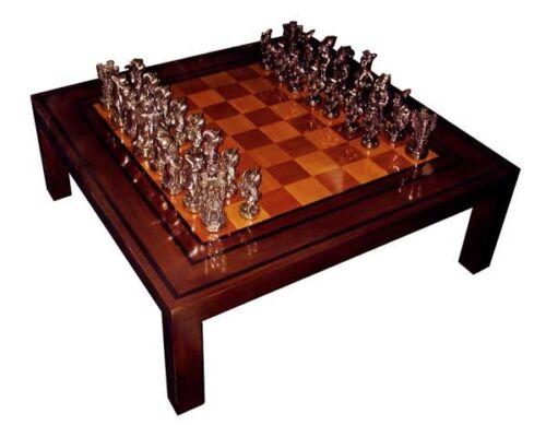Chess/Game Table w Solid Bronze Chess Pieces, Signed Dunn #2654