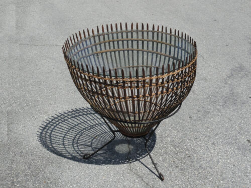 RARE 60s FRANCO ALBINI ATTR.  ITALIAN WICKER & GLASS HOOP END COCKTAIL TABLE