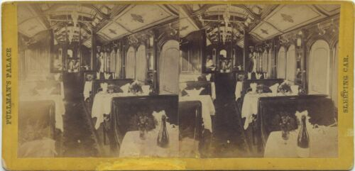 Alfred A. Hart stereoview (1860's) Pullman's Palace, Dining Car Interior