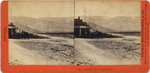 Nevada, Thomas Houseworth & Co. stereoview 1860's View of Carson City from East