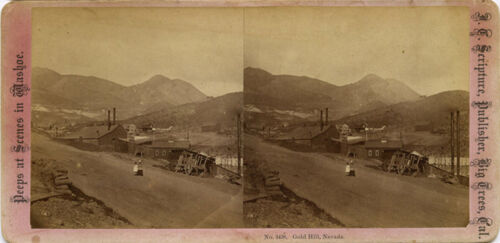 Nevada, Peeps at Scenes in Washoe stereoview 1860's Mines, Houses, and Children