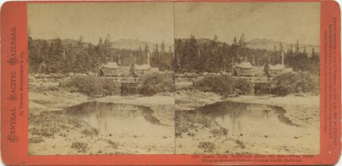 California, Thomas Houseworth & Co. stereoview 1860s Castle Peak from Yuba River