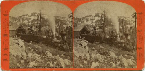 California, J.J. Reilly stereoview 1860s Fire Train at the Summit, C.P.R.R. CA