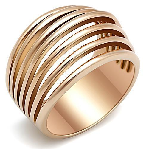 Women's Pink Rose gold GP Stainless Steel Wide Band Dome Emo Ring  sz 5-10