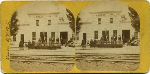 California stereoview (1870's) Humboldt House, 422 miles to San Francisco, CA