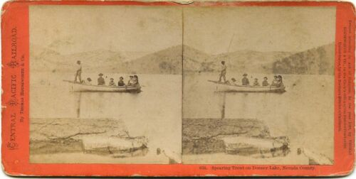 California, Thomas Houseworth & Co. stereoview # 858 (1870s) Spearing Trout, CA