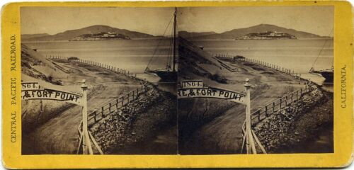 California Alfred Hart stereoview (1870's) San Francisco, Fort Point, CA