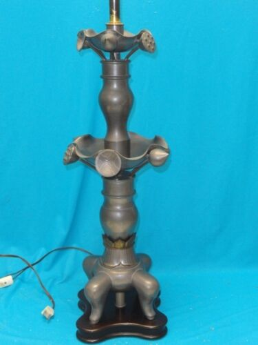 "VINTAGE MARBRO LIGHTING Co METAL PEWTER TABLE LAMP with WOOD BASE ~ 39"" * RARE"