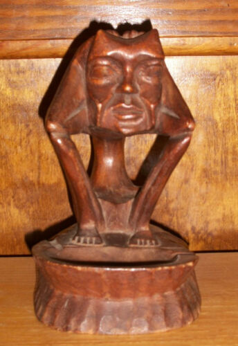 Rare Antique Wood Carving Odd Skinny Horned Man Statue Ashtray Dark Rich Color
