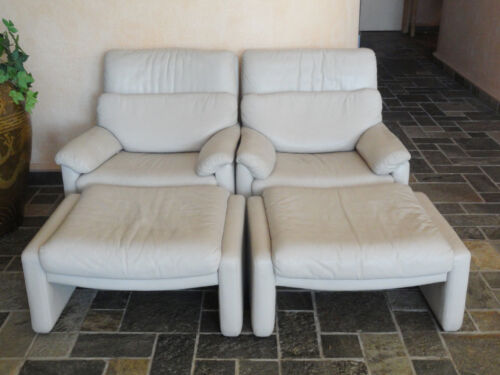 PAIR of RARE 80s CY MANN DESIGNS - ROLF BENZ LEATHER RECLINER CHAIR & OTTOMAN