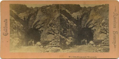 American Scenery stereoview # 135 (1860's) Summit Tunnel and worker, California