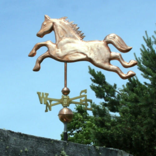 """"""" COPPER """"HORSE"""" WEATHERVANE W/COPPER BALLS & BRASS DIRECTIONAL MADE IN USA #217"""
