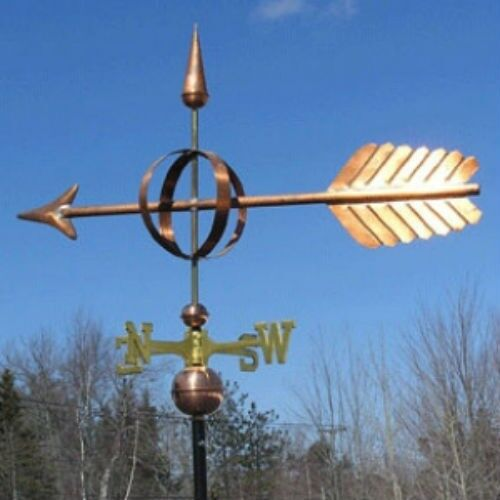 """COPPER  LARGE  """" SPHERE ARROW """" WEATHERVANE  MADE IN USA #209"""