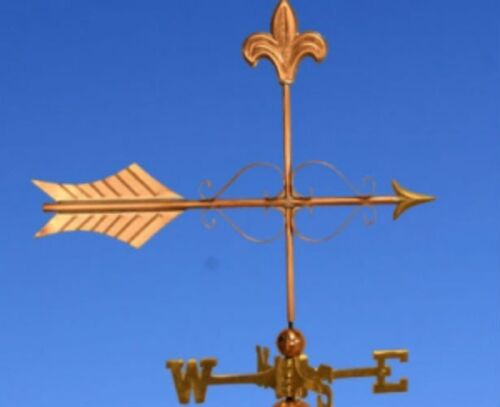 "COPPER   ""FLEUR DE LIS ARROW "" WEATHERVANE  MADE IN USA #374"