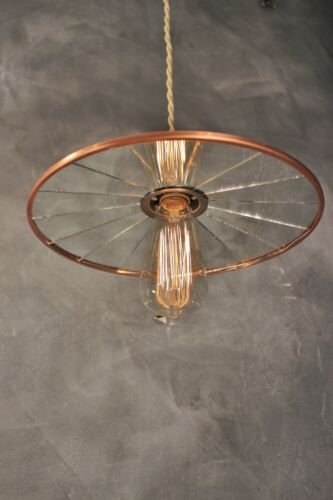 Industrial Lighting - Vintage Copper Pendant Lamp - Steampunk Lamp Mirror Shade