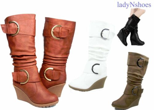 NEW Faux Leather Round Toe Buckle Wedge Heel Mid Calf Knee High Boots Size 6 -10