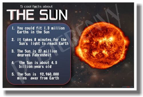 5 Facts About The Sun - NEW Astronomy Science Classroom Poster