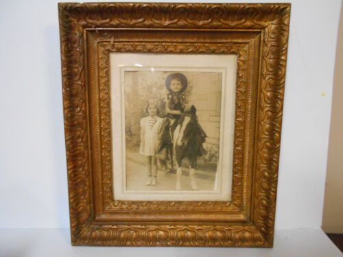BEAUTIFUL ANTIQUE VINTAGE FRAME WITH PICTURE OF BOY, GIRL AND PONY