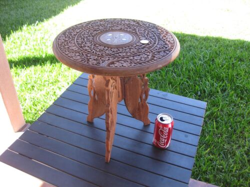"VINTAGE INDONESIA WOOD HAND CARVED TEAK SIDE TABLE WITH BRASS INLAY 15""X15"" TALL"